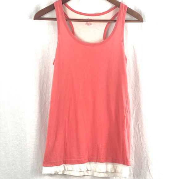 ⭐️ 5/$30- Coral and white layered tank (long)